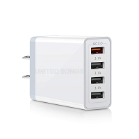 4 Port USB Wall/Travel/Home Charger White