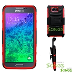 Samsung Galaxy Alpha G850 Hybrid Kickstand Case with Hostel Belt Clip Black Red