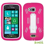 Samsung ATIV Odyssey i930 Heavy Duty Case with Kickstand Pink/White