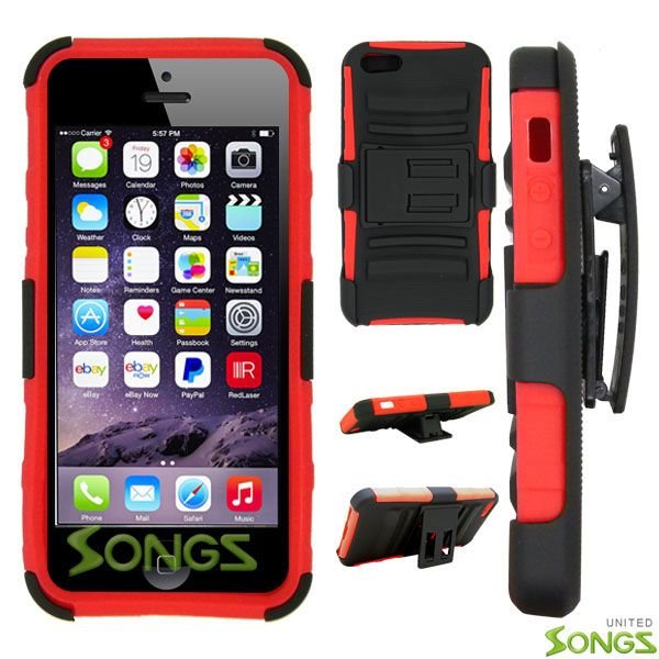 iPhone 6S Plus/6 Plus Hybrid Kickstand Case with Hostel Belt Clip Black/Red