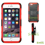 iPhone  6S/6 Hybrid Kickstand Case with Hostel Belt Clip Black/Red