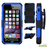 iPhone 6S Plus/6 Plus Hybrid Kickstand Case with Hostel Belt Clip Black/Blue