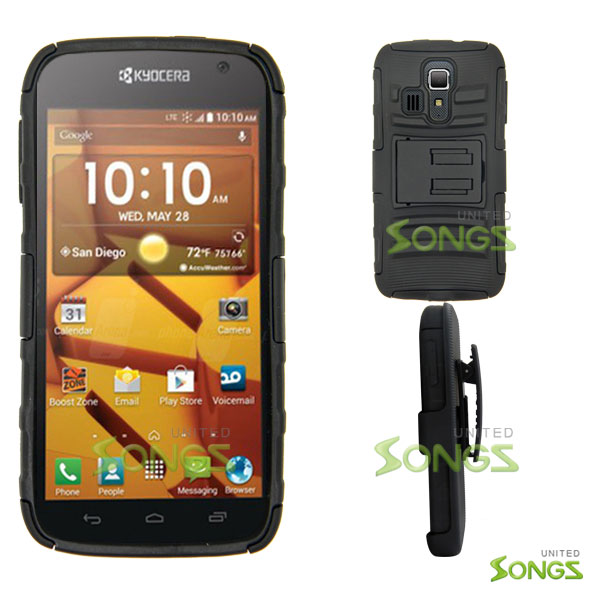 Kyocera Hydro ICON C6730(Boost Mobile) Hydro LIFE C6530(T-Mobile) Hybrid Kickstand Case with Hostel Belt Clip(Super Combo) Black/Black