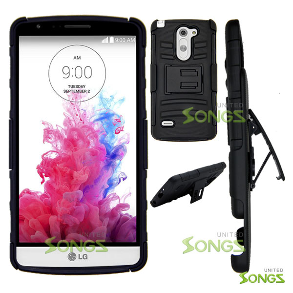 LG G3 Stylus D690 Hybrid Kickstand Case with Hostel Belt Clip(Super Combo) Black/Black