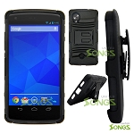 LG Nexus 5 Hybrid Kickstand Case with Hostel Belt Clip Black/Black