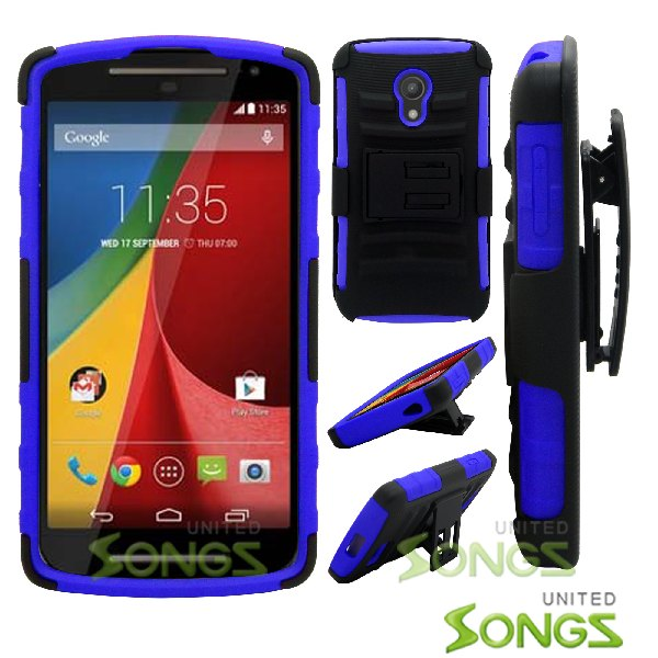 Motorola G(2nd-Gen) Hybrid Kickstand Case with Hostel Belt Clip Black/Blue