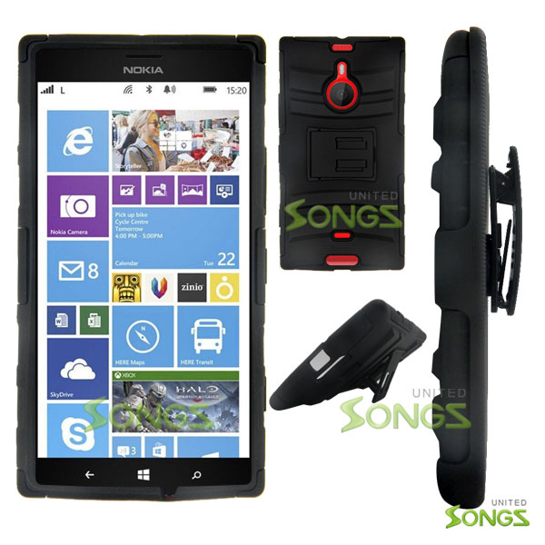Nokia Lumia 1520 (AT&T) Hybrid Kickstand Case with Hostel Belt Clip(Super Combo) Black/Black