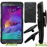 Samsung Note 4/N9100 Hybrid Kickstand Case with Hostel Belt Clip Black/Black