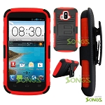 ZTE Z740G Sonata 4G/Radiant(AT&T) Hybrid Kickstand Case with Hostel Belt Clip (Super Combo) Black/Red