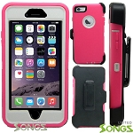 iPhone 5 5S Heavy Duty Case with Screen Protector With Clip Pink/White