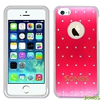 iPhone 5 5S Metal Stars Case Red/White
