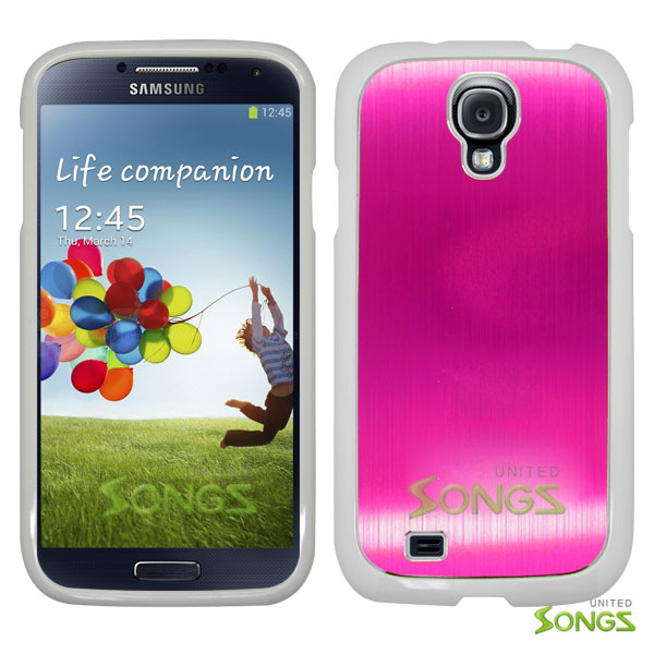 Samsung Galaxy S4 IV i9500 I337Z L720 i545 M919N i337 M919 R970 R970C. Metal Back Case Light Pink/White