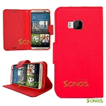 HTC One M9 Wallet Case Red