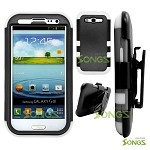 Samsung Galaxy S3 S III i9300 (for any Carriers)  Heavy Duty Case with Clip Black/White