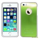 iPhone 5 5S Metal Back Case Green/White