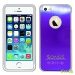iPhone 5 5S Metal Back Case Purple/White