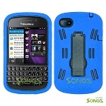 BlackBerry Q10 (AT&T, T-Mobile, Verizon, Sprint) Heavy Duty Case with Kickstand Blue/Black