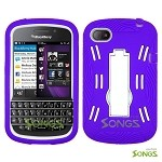 BlackBerry Q10 (AT&T, T-Mobile, Verizon, Sprint) Heavy Duty Case with Kickstand Purple/White