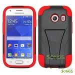 Samsung Galaxy Ace Style S765C (Unlocked) Hybrid Kickstand Case  Black/Red