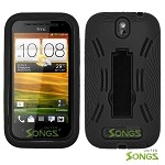 HTC One SV Heavy Duty Case with Kickstand Black/Black