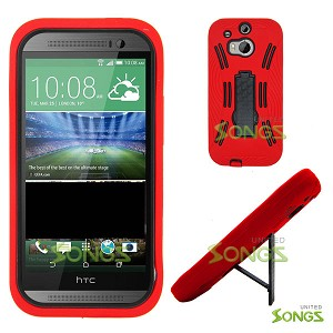 HTC ONE M8 Heavy Duty Case with Kickstand Red/Black