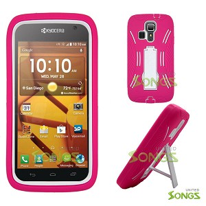 Kyocera Hydro ICON C6730(Boost Mobile) Hydro LIFE C6530(T-Mobile) Heavy Duty Case with Kickstand Pink/White