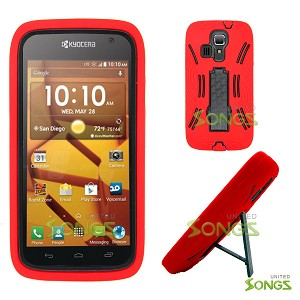 Kyocera Hydro ICON C6730(Boost Mobile) Hydro LIFE C6530(T-Mobile) Heavy Duty Case with Kickstand Red/Black