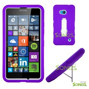 Nokia Lumia 640 Heavy Duty Case with Kickstand Purple/White
