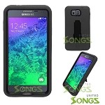 Samsung Galaxy Alpha G850 Heavy Duty Case With Kickstand Black/Black