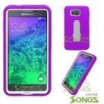 Samsung Galaxy Alpha G850 Heavy Duty Case With Kickstand Purple/White