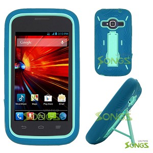 ZTE Concord II Z730(T-mobile, MetroPCS) Heavy Duty Case with Kickstand Ocean Blue/Ocean Blue