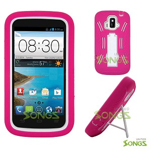 ZTE Z740G Sonata 4G/Radiant(AT&T) Heavy Duty Case with Kickstand Pink/White