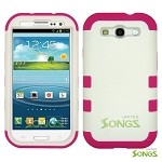 Samsung Galaxy S3 S III i9300 (for any Carriers)  Heavy Duty Case Soft Inside White/Pink