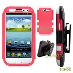 Samsung Galaxy S3 S III i9300 (for any Carriers)  Heavy Duty Case Soft Inside Pink/White