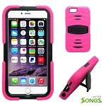 iPhone 6S/6 Heavy Duty Case with Kickstand & Screen Protector Pink/Black