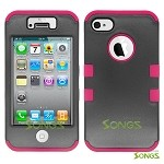 iPhone 4 4S Heavy Duty Case Soft Inside Black/Pink
