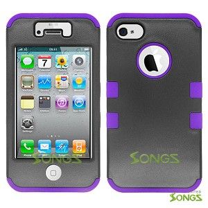 iPhone 4 4S Heavy Duty Case Soft Inside Black/Purple