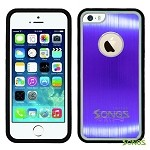 iPhone 5 5S Metal Back Rubber Side Case Purple/Black