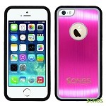iPhone 5 5S Metal Back Rubber Side Case Pink/Black