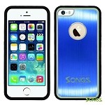 iPhone 5 5S Metal Back Rubber Side Case Blue/Black