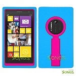 Nokia Lumia 1020 Heavy Duty Case with Kickstand Ocean Blue/High Pink