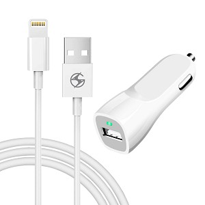 iPhone 2 in 1 Car Charger White