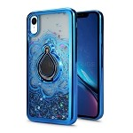 iPhone XR New Liquid Quicksand Case With Ring Blue