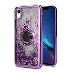 iPhone XR New Liquid Quicksand Case With Ring Purple