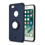 iPhone 8/7 New Hybrid Case With Ring Holder Kickstand Blue