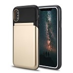 iPhone XS/X New Hybrid Case With Built-In Mirror/Card Slot/Stand Gold