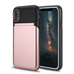 iPhone XS/X New Hybrid Case With Built-In Mirror/Card Slot/Stand Rose Gold