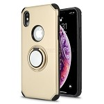 iPhone XS/X New Hybrid Case With Ring Holder Kickstand Gold
