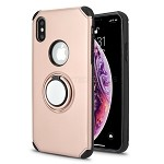 iPhone XS/X New Hybrid Case With Ring Holder Kickstand Rose Gold