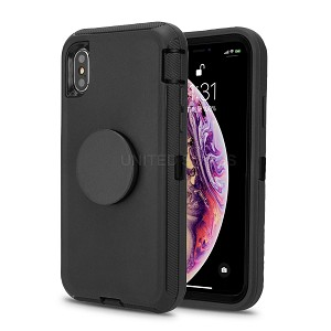 iPhone 11 Pro Max New Heavy Duty Defender Case With Pop Holder Black/Black
